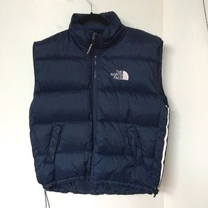 THE NORTH FACE Puffer Vest Dark Blue Duck Down Blend Size S Reflective Tape